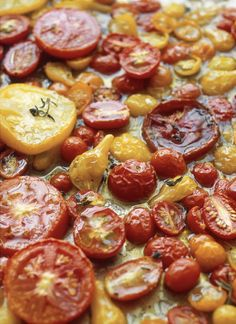 Slow-Roasted Tomatoes   If you've never tried slow-roasting tomatoes, now is your perfect opportunity. Summer's ripe heirlooms and Early Girls are at their sweetest, and while they are flawless eaten fresh with a sprinkle of sea salt and olive oil, roasting adds an entirely new dimension of flavor.