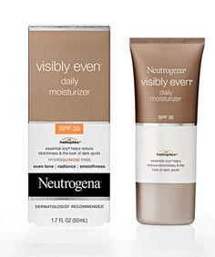 Neutrogena Visibly Even Moisturizer. LOVE THIS. I apply it in the morning. It makes my skin super soft and it really has helped to even out my skin tone and make my skin look more naturally beautiful.
