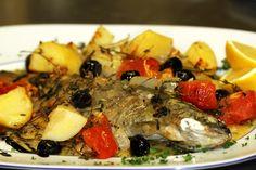 """Roman trout"" (white vine, potatoes, herbs, olives, tomatoes, garlic, onion)"