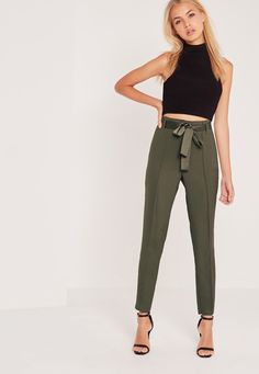 Missguided - Tie Waist Seamed Front Cigarette Trousers Khaki