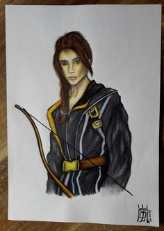 """Katniss Everdeen (Jennifer Lawrence) from """"The Huger Games"""".  Quick colored drawing with Marco Raffine and Faber Castell Polychromos."""