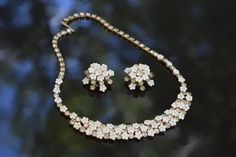 Vintage Demi Parure Set White Enamel Floweres and Clear Rhinestone Neckalace and Ear Rings by DorothyZudora on Etsy
