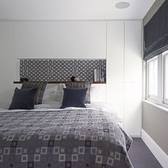 Muted grey and white bedroom Bedroom Closet Design, Bedroom Loft, Bedroom Sets, Diy Bedroom Decor, Home Decor, Master Bedroom, Bedroom Themes, Bedroom Designs Images, Modern Home Interior Design