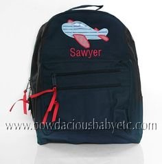 Boys Personalized Backpack, Airplane, Monogrammed
