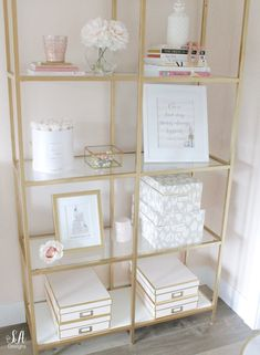 Updated Glam Office Reveal With Blush Pink Walls - Summer Adams Pink Accent Walls, Pink Walls, Vittsjo Hack, Fashion Coffee Table Books, Ikea Book, Blush Bedroom, Home Office Decor, Office Chic, Home Decor