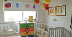 I created this Sesame Street themed nursery for a boy/girl shared room. The main feature is the dresser which was made over using vinyl. The characters faces we…