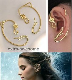 Beauty and the Beast Earrings Ear Cuff Gold Rose Stud Jewellry Belle/Emma Watson