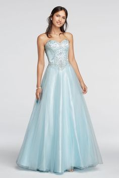 Crystal Embellished Drop Waist Tulle Prom Dress - Ice Blue, XS