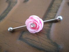 Industrial Barbell Piercing Bar Earring Jewelry Pink Rose Flower CZ Gem Crystal 14 G Gauge Oh my gosh! I can't wait till mine heals! Industrial Earrings, Industrial Piercing Jewelry, Industrial Barbell, Industrial Bars, Barbell Piercing, Piercing Tattoo, Body Piercing, Ear Jewelry, Body Jewelry