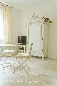 Pretty white armoire and color palette