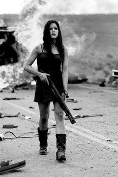 Prepared gals survive! Scene from movie The Hitcher