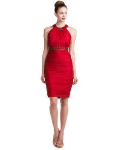 CARMEN MARC VALVO Crimson Silk Dress