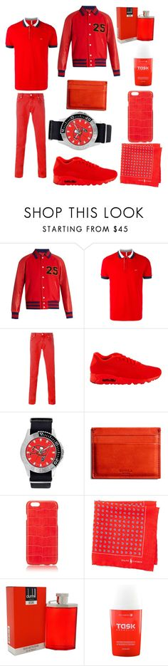 """""""Rosy red"""" by caitlinthomson ❤ liked on Polyvore featuring Gucci, SUN68, Jacob Cohёn, NIKE, Shinola, Hadoro, Ralph Lauren, Alfred Dunhill, Task Essential and men's fashion"""