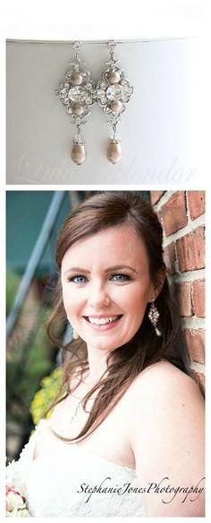 Champagne Pearl Bridal Earrings Vintage Style Crystal  Wedding Earrings Swarovski Pearl Powder Almond LEILA