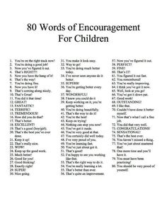 80 Encouraging Words for Children