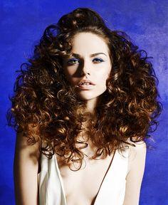 Headquarters Hair Salon - Long Brown curly hair styles (22497) Sensation Collection Hair: Samantha Macleod and Jurgita Ladauskaite at Headquarters Hair Salon Photography: John Rawson Make-up: Chase Aston Clothes styling: Jared Green
