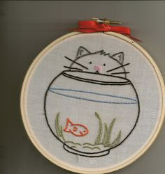kitty embroidery for swap by kittykill, via Flickr