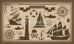 Vektorgrafik : Satz von nautischen design-Elemente, Vektor-EPS10