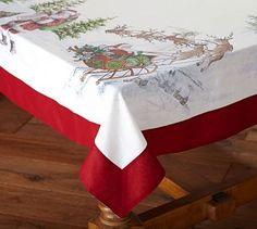 Bon Nostalgic Santa Tablecloth. Holiday DinnerwareDinnerware SetsPottery BarnChristmas  ...
