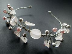 Crystal Healing Love Rose Quartz Silver Pink Pearl by CassieVision, $49.50