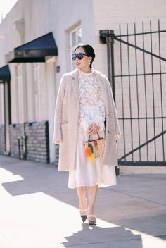 Winter White: Alexis Lace Top, Raoul Pleated Skirt, HM Coat, Dolce & Gabbana Box Bag, via: HallieDaily
