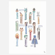 A limited edition, fine art print by Amber Smith on Epson Watercolour poster paper. PEZ is an illustration worthy of your personal art collection and comes with a document of authenticity. A3, Wind Chimes, Fine Art Prints, Watercolor, Canvas, Illustration, Poster, Pen And Wash, Tela