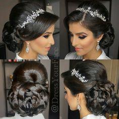 Beautiful updo hairstyle with rhinestone headband