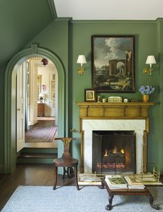 Gr Green With Antique Mantel And White Surround Walls Painted