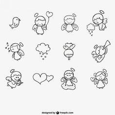 Conjunto de ángeles dibujados a mano | Descargar Vectores gratis