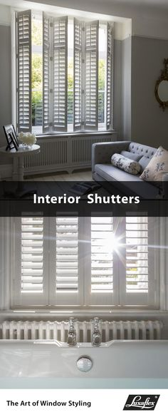 Luxaflex® Interior Shutters are a stylish and practical addition to your home. Our shutters are perfect for light control and privacy. Made in the UK they come with our 10 Year Guarantee. Wooden Slat Blinds, Wooden Shutters, Wood Blinds, Interior Shutters, Pallet House, Bathroom Windows, Window Styles, Wood Interiors, Home