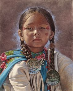 White Wolf : Incredibly Detailed Native American Paintings By Ann Hanson Native American Children, Native American Wisdom, Native American Beauty, Native American Photos, American Indian Art, Native American Indians, Native American Paintings, Native American Artists, Portraits
