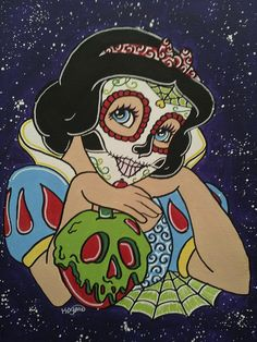 Snow White with apple Sugar Skull Canvas Print