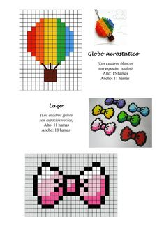 Ribbon and hot air balloon hama perler beads pattern Tiny Cross Stitch, Beaded Cross Stitch, Cross Stitch Embroidery, Cross Stitch Patterns, Perler Bead Templates, Pearler Bead Patterns, Perler Patterns, Pixel Beads, Fuse Beads