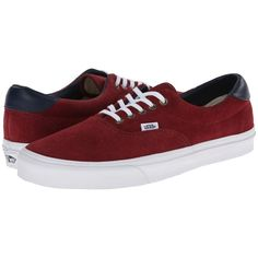 Vans Era 59 Oxblood Red) Skate Shoes, Red ($23) ❤ liked on Polyvore featuring shoes, sneakers, sapatos, red, vans sneakers, red trainer, oxblood shoes and red leather shoes