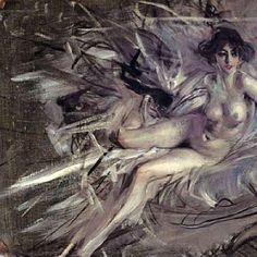 Giovanni Boldini, Nudo di giovane donna sul divano.