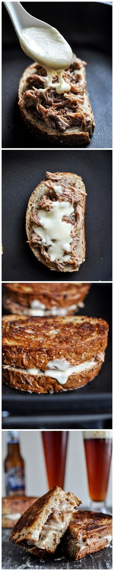 Crock Pot Pulled Pork and Beer Cheese Grilled Cheese Sandwiches