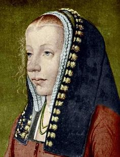 A Young Woman, possibly Anne de Dreux, ca. 1490 (Unknown Artist).  A frilled veil with a simple hood over the top.