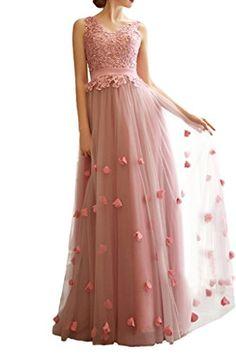 Milano Bride Damen Spitze Applikation A-Linie Abendkleid Promkleid Lang  Tuell V-Ausschnitt Band-32-Dunkelblau cc3181e0c4