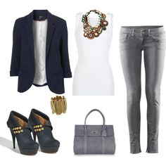 black blazer, white tank, cute jeans...all my favorites