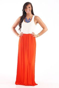Orange and White Maxi - $46.00