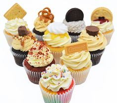 Cupcake collection from Sian's Little Cakery, Grantham Lincolnshire. Caramac, Jammy Dodgers, Cupcake Collection, Cupcake Flavors, Reeses Peanut Butter, Cake Makers, Fun Cupcakes, Freshly Baked, Pretzel