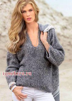 ae8ead47355 Серый меланжевый пуловер свободного покроя. Вязание спицами