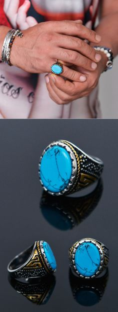 Big Antique Turqoise Steel-Ring 63 by Guylook.com Big Turquoise gemstone& steel body Beautiful engraving & craftsmanship