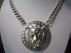 Silver Lion Head Necklace Thick Silver Chunky Chain by PrettyDIY, $9.99