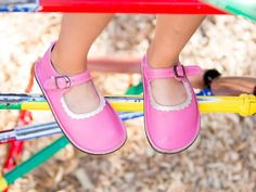 Child Merry Janes from Soft Star Shoes: Your little one will be stylish AND comfortable in this classic Mary Jane design.  These Flamingo pink leather playground shoes will keep kids cute AND comfortable!