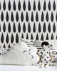 Drops Wallpaper in Charcoal by Sissy + Marley for Jill Malek