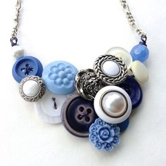 Blue and White Flowers Vintage Button Statement Necklace with Silver Tone by buttonsoupjewelry on Etsy Etsy Jewelry, Jewelry Crafts, Jewelry Art, Silver Jewelry, Handmade Jewelry, Diy Jewellery, Jewelry Ideas, Button Necklace, Diy Necklace
