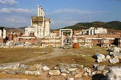 Ruins of the Basilica of St. John. Built over the Hellenistic wall to the east of the lecture hall in the late 4th or 5th century. It was abandoned after the fire in 7th century AD
