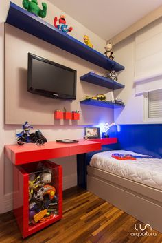 Look at this great small bedroom furniture - what a clever design and development Small Bedroom Furniture, Room Ideas Bedroom, Boys Room Decor, Small Room Bedroom, Kids Bedroom, Bedroom Decor, Child's Room, Avengers Room, Superhero Room