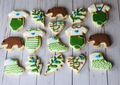 Decorate sugar cookies with outdoors theme